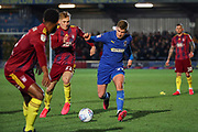 AFC Wimbledon midfielder Max Sanders (23) battles for possession with Ipswich Town midfielder Flynn Downes (21) during the EFL Sky Bet League 1 match between AFC Wimbledon and Ipswich Town at the Cherry Red Records Stadium, Kingston, England on 11 February 2020.