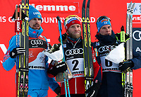Langrenn ,VAL DI FIEMME,ITALY,07.JAN.17 - NORDIC SKIING, CROSS COUNTRY SKIING - FIS World Cup, Tour de Ski, 15km Classic Massstart, men, award ceremony. Image shows Sergey Ustiugov (RUS), Martin Johnsrud Sundby (NOR) and Matti Heikkinen (FIN).<br /> <br /> NORWAY ONLY