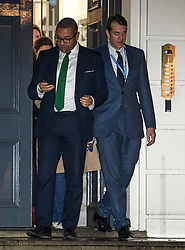 © Licensed to London News Pictures. 13/12/2019. London, UK. Conservative party co-chairmen JAMES CLEVERLY and BEN ELLIOT leaves Conservative Campaign Headquarters after the Conservative party achieved a majority in the General Election. A general election was called for December 12th following a deadlock in Parliament over the UK's decision to leave the EU. Photo credit: Ben Cawthra/LNP