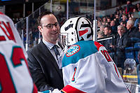 KELOWNA, CANADA - MARCH 7:  James Porter #1 of the Kelowna Rocketsj speaks to assistant coach Kris Mallette on the bench during second period against the Vancouver Giants on March 7, 2018 at Prospera Place in Kelowna, British Columbia, Canada.  (Photo by Marissa Baecker/Shoot the Breeze)  *** Local Caption ***