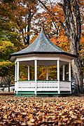 Gazebo on the village green with autumn foliage, Weston, Vermont, USA