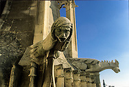 France. Paris. 4th district. Elevated view. Paris, Saint Merri church.  Wailing Gargoyle Protruding from Rooftop