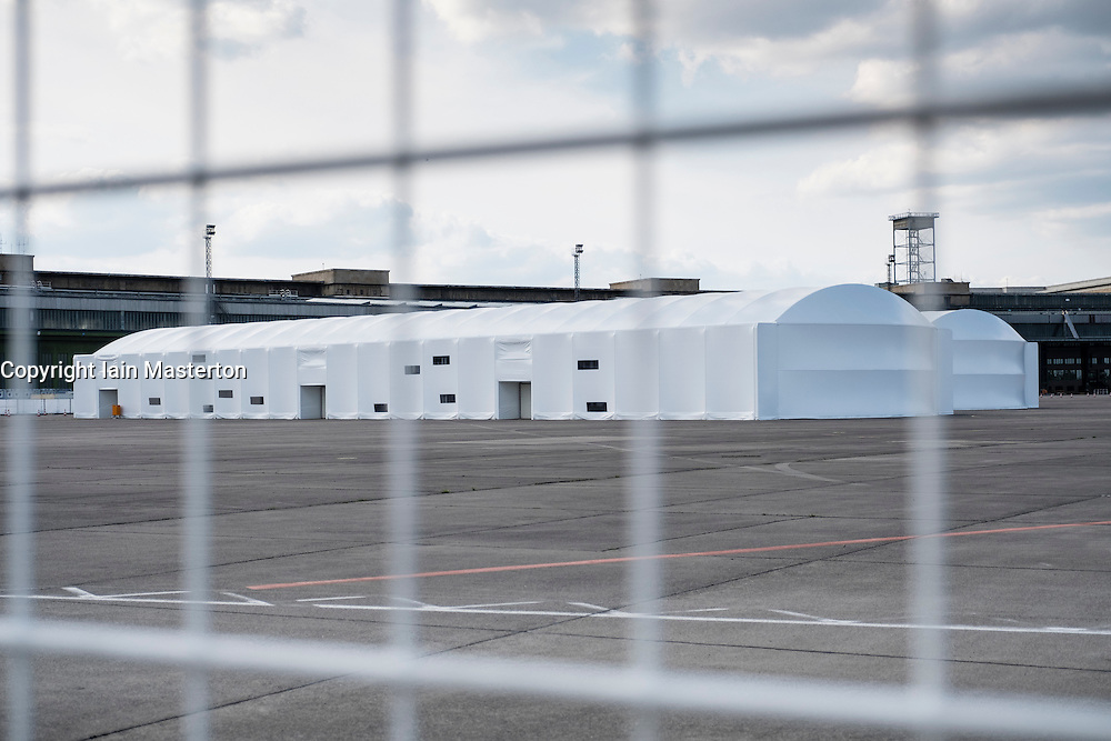 Temporary  accomodation for asylum seekers at former Tempelhof Airport in Berlin Germany