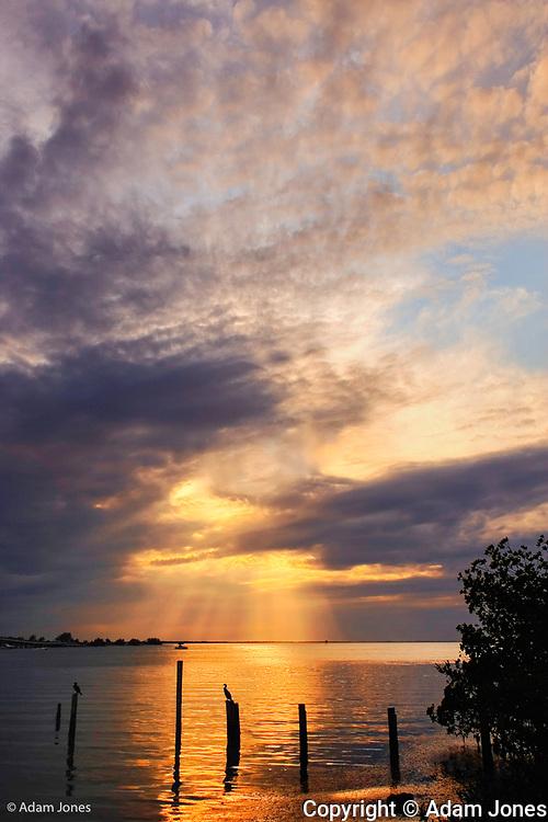 Remnants of old pier at sunset, Sanibel Island, Florida