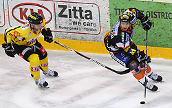 22.01.2012, Albert Schultz Halle, Wien, AUT, EBEL, UPC Vienna Capitals vs Moser Medical Graz 99ers, im Bild Mario Seidl, (UPC Vienna Capitals, #82) und Sebastien Bisaillon, (Moser Medical Graz 99ers, #7)  // during the icehockey match of EBEL between UPC Vienna Capitals (AUT) and Moser Medical Graz 99ers (AUT) at Albert Schultz Halle, Vienna, Austria on 22/01/2012,  EXPA Pictures © 2012, PhotoCredit: EXPA/ T. Haumer