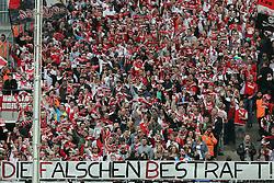 """12.04.2015, RheinEnergieStadion, Köln, GER, 1. FBL, 1. FC Köln vs TSG 1899 Hoffenheim, 28. Runde, im Bild Plakat """"Die falschen bestraft"""" // during the German Bundesliga 28th round match between 1. FC Cologne and TSG 1899 Hoffenheim at the RheinEnergieStadion in Köln, Germany on 2015/04/12. EXPA Pictures © 2015, PhotoCredit: EXPA/ Eibner-Pressefoto/ Schüler<br /> <br /> *****ATTENTION - OUT of GER*****"""