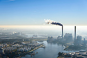 Nederland, Noord-Holland, Amsterdam, 11-12-2013; Westelijk Havengebied, Petroleumhaven met Centrale Heweg (kolengestookt) in de achtergrond.<br /> Western Harbour Amsterdam, Westhaven. Electricityplant, coal fired, in the background.<br /> luchtfoto (toeslag op standaard tarieven);<br /> aerial photo (additional fee required);<br /> copyright foto/photo Siebe Swart.