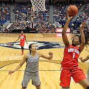 HARTFORD, CONNECTICUT- DECEMBER 19: Stephanie Mavunga #1 of the Ohio State Buckeyes drives to the basket for two while challenged by Napheesa Collier #24 of the Connecticut Huskies and Crystal Dangerfield #5 of the Connecticut Huskies during the UConn Huskies Vs Ohio State Buckeyes, NCAA Women's Basketball game on December 19th, 2016 at the XL Center, Hartford, Connecticut (Photo by Tim Clayton/Corbis via Getty Images)