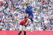 Chelsea Oliver Giroud wins header with Manchester United Defender Chris Smalling during the FA Cup Final between Chelsea and Manchester United at Wembley Stadium, London, England on 19 May 2018. Picture by Phil Duncan.