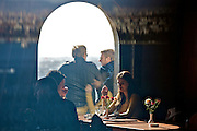 Istanbul. Galata Tower. Young people at the cafe?.