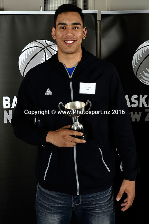Tai Wynyard receives the Ambassadors Trophy for Male Junior Player of the Year during the Basketball New Zealand awards evening at the Mercure Hotel in Wellington on Friday the 20th of May 2016. Copyright Photo by Marty Melville / www.Photosport.nz
