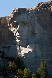 Detailed view of the sculpture of Abraham Lincoln on Mt. Rushmore, Mount Rushmore National Monument, South Dakota, United States of America