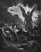 Archangel Gabriel, instrument of God,  '..smote in the camp of the Assyrians? So Sennacherib king of Assyria departed' II Kings 19. From Gustave Dore Bible 1865-1866. Wood engraving