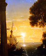 Claude Lorrain(1600-1682) French artist. 'The Embarkation of St Paul', 1655. (detail) Oil on silver plated copper. St Paul is about to board a boat for Rome where he faces trial and execution. The ruined pagan temple stands as a testimony to the power of Christianity.