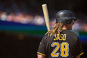 Pittsburgh Pirates first baseman John Jaso (28) waits in the on-deck circle against the San Francisco Giants at AT&T Park in San Francisco, Calif., on August 17, 2016. (Stan Olszewski/Special to S.F. Examiner)