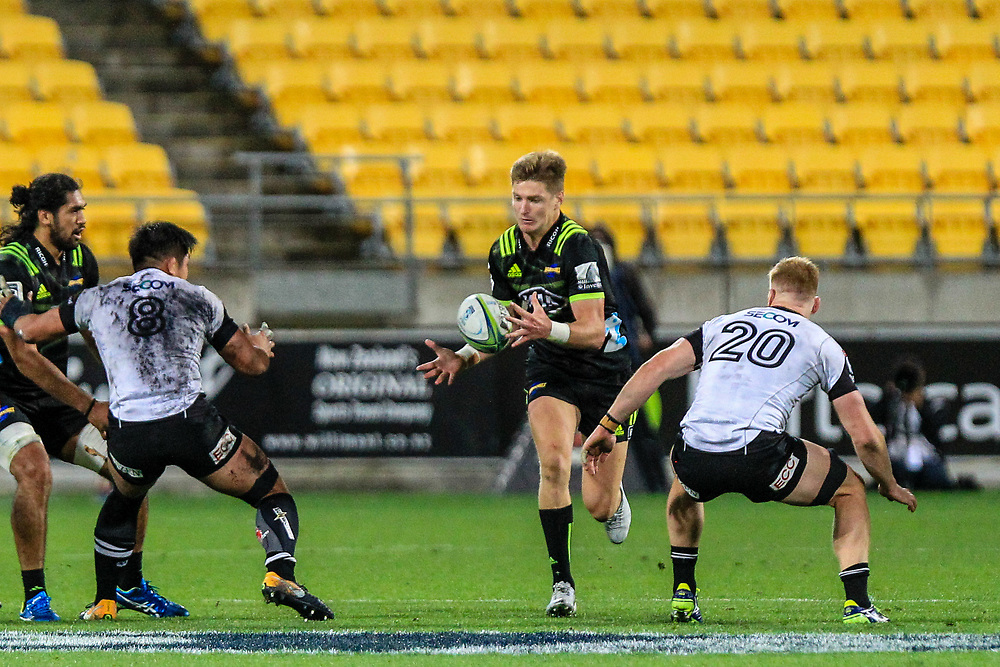 Jordie Barrett catches the pass during the Super Rugby union game between Hurricanes and Sunwolves, played at Westpac Stadium, Wellington, New Zealand on 27 April 2018.   Hurricanes won 43-15.