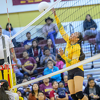 Newcomb Skyhawk Zoey Natonabah (10) spikes to the Tohatchi Cougars at Tohatchi High School Thursday.