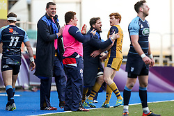 Jack Tovey of Bristol Rugby celebrates with Nick Fenton-Wells after scoring a try - Rogan Thomson/JMP - 21/01/2017 - RUGBY UNION - Cardiff Arms Park - Cardiff, Wales - Cardiff Blues v Bristol Rugby - EPCR Challenge Cup.