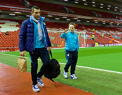 LIVERPOOL, ENGLAND - Wednesday, March 2, 2016: Manchester City's Ben Thompson arrives before the Premier League match against Liverpool at Anfield. (Pic by David Rawcliffe/Propaganda)