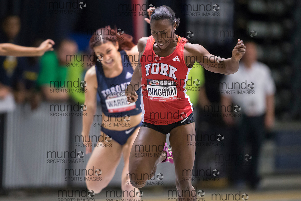 Windsor, Ontario ---2015-03-12--- Khamica Bingham of York competes in the 60m at the 2015 CIS Track and Field Championships in Windsor, Ontario, March 12, 2015.<br /> GEOFF ROBINS/ Mundo Sport Images