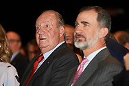 King Felipe VI of Spain, King Juan Carlos of Spain attended the Presentation of the COTEC Report at Complejo Duques de Pastrana on May 22, 2018 in Madrid, Spain