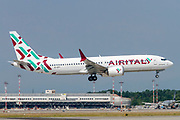 AirItaly Boeing 737 Next Gen passenger jet at takeoff Photographed at Malpensa Airport, Milan, Italy