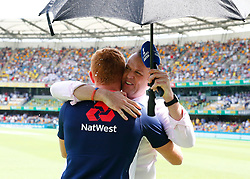 England's Jonny Bairstow is interviewed by former player Graeme Swan during day one of the Ashes Test match at The Gabba, Brisbane.