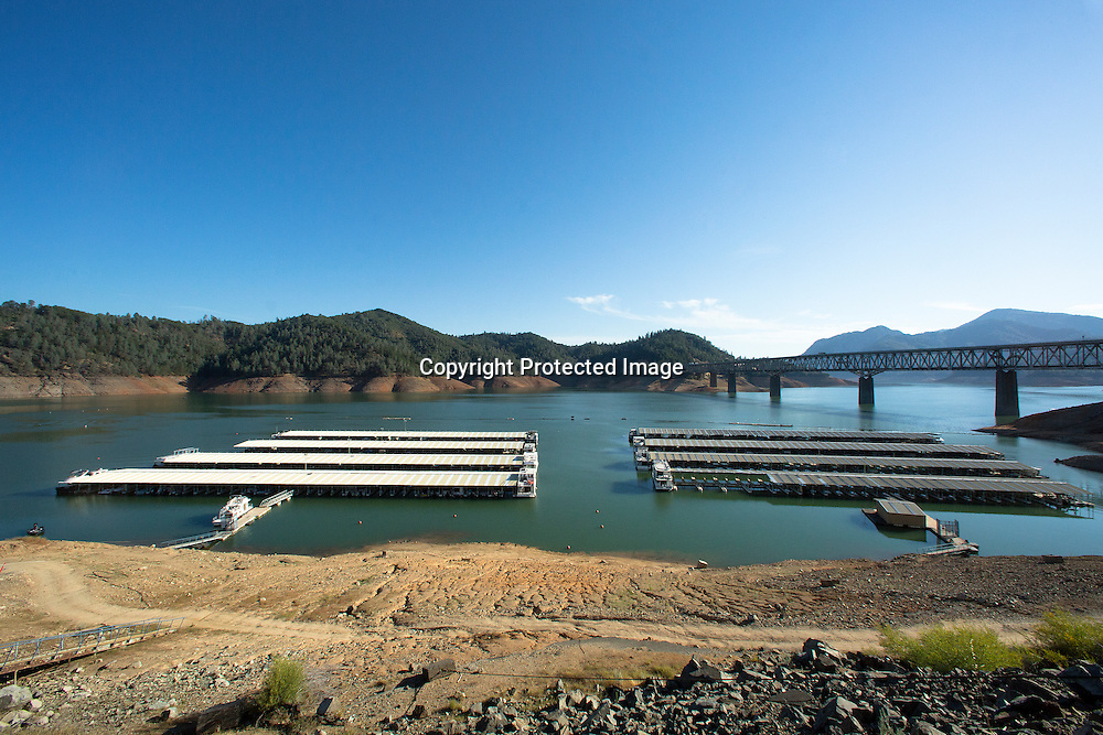View of Shasta Lake's Bridge Bay marina one and two and the effects of four years drought in California