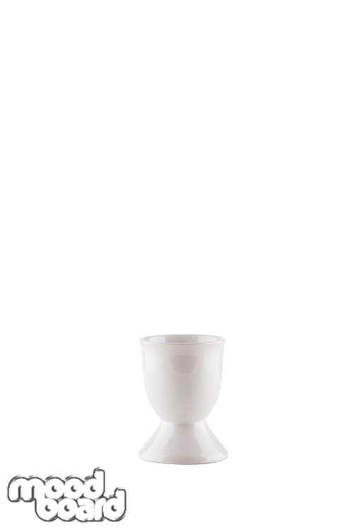 Empty egg cup over white background