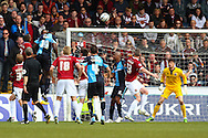 Aaron Pierre of Wycombe Wanderers (19) scores his team's first goal to make it 1-1 during the Sky Bet League 2 match at Adams Park, High Wycombe<br /> Picture by David Horn/Focus Images Ltd +44 7545 970036<br /> 18/04/2014