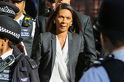 © Licensed to London News Pictures. 19/09/2019. London, UK. Businesswoman and political activist GINA MILLER arrives at UK Supreme Court in London on the final day of the three day appeal hearing in the multiple legal challenges against the Prime Minister Boris Johnson's decision to prorogue Parliament ahead of a Queen's speech on 14 October. Since Tuesday 17 September, eleven instead of the usual nine Supreme Court justices have been hearing the politically charged claim that Boris Johnson acted unlawfully in advising the Queen to suspend parliament for five weeks in order to stifle debate over the Brexit crisis.It is the first time the Supreme Court has been summoned for an emergency hearing outside legal term time.Lady Hale, the first female president of the court who retires next January, has been preside the Brexit-related judicial review cases. Photo credit: Dinendra Haria/LNP