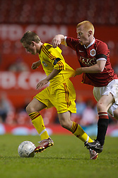 Manchester, England - Thursday, April 26, 2007: Liverpool's Steven Irwin and Manchester United's Richard Eckersley during the FA Youth Cup Final 2nd Leg at Old Trafford. (Pic by David Rawcliffe/Propaganda)