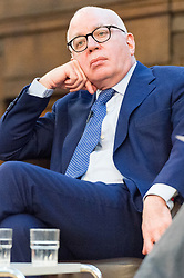 © Licensed to London News Pictures. 23/02/2018. London, UK.  Michael Wolfe the American author of Fire And Fury: Inside Trump The White House, is in conversation with Armando Iannucci . The Waterstones book talk about the Us president Donald Trump was held at Friend's House.Photo credit: Ray Tang/LNP