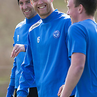 St Johnstone Training....11.04.14<br /> Steven Anderson has a laugh at the expense of youngster Craig Thomson during training this morning ahead of Sunday's Scottish Cup semi-fnal against Aberdeen.<br /> Picture by Graeme Hart.<br /> Copyright Perthshire Picture Agency<br /> Tel: 01738 623350  Mobile: 07990 594431