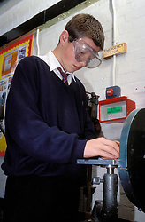 Woodwork class at secondary school, UK