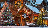 Christmas decor at local art gallery in Bigfork, Montana, USA
