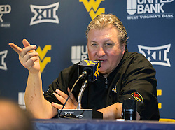 West Virginia Mountaineers head coach Bob Huggins speaks to the media after beating Texas Tech.