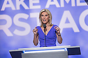 Conservative Talk show personality Laura Ingraham addresses the third day of the Republican National Convention July 20, 2016 in Cleveland, Ohio.