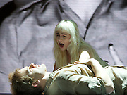 Lazarus <br /> by David Bowie and Enda Walsh<br /> at the Kings Cross Theatre, London, Great Britain <br /> press photocall <br /> 3rd November 2016 <br /> <br />  <br /> Directed by Ivo van Hove and inspired by the novel, The Man Who Fell To Earth, Lazarus focuses on Thomas Newton, as he remains still on Earth - a 'man' unable to die, his head soaked in cheap gin and haunted by a past love. We follow Newton during the course of a few days where the arrival of another lost soul - might set him finally free.<br />  <br /> Michael C Hall as Newton <br /> <br /> Sophia Anne Caruso as Girl <br /> <br /> Photograph by Elliott Franks <br /> Image licensed to Elliott Franks Photography Services
