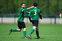 Marc Richards of SWYD United celebrates with Joe Hedger of SWYD United - Mandatory by-line: Dougie Allward/JMP - 08/05/2016 - FOOTBALL - Keynsham FC - Bristol, England - BAWA Sports v SWYD United - Presidents cup final