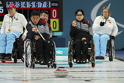 March 16, 2018 - Gangneung, GANGWON, SOUTH KOREA - March 16, 2018-Gangneung, South Korea-South Korea Curling Team and Norway Curling Team action on the ice during an 2018 Winter Paralympic Wheelchair Curling Mixed Semifinal at Gangneung Curling Center in Gangneung, South Korea. Match Won Norway, Score by 8-6. (Credit Image: © Gmc via ZUMA Wire)