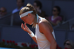 May 6, 2019 - Madrid, Spain - Petra Kvitova of the Czech Republic reacts in her match against Kristina Mladenovic of France during day three of the Mutua Madrid Open at La Caja Magica on May 06, 2019 in Madrid, Spain. (Credit Image: © Oscar Gonzalez/NurPhoto via ZUMA Press)