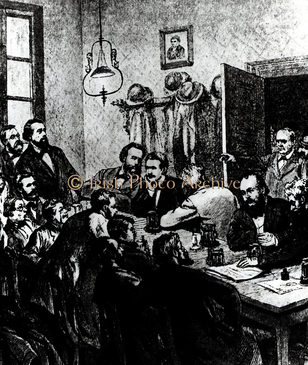 Breaking up of a meeting of a meeting of the Social Democrats, Leipzig, 1881.  Among the participants were Wilhelm Liebknecht and August Bebel. Engraving.
