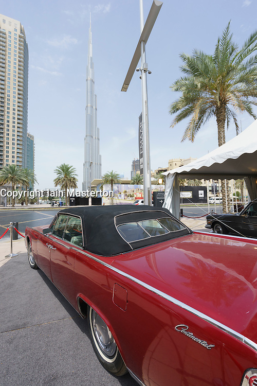 Vintage car on display at the Emirates Classic Car Festival March 2015 in Downtown district of Dubai United Arab Emirates