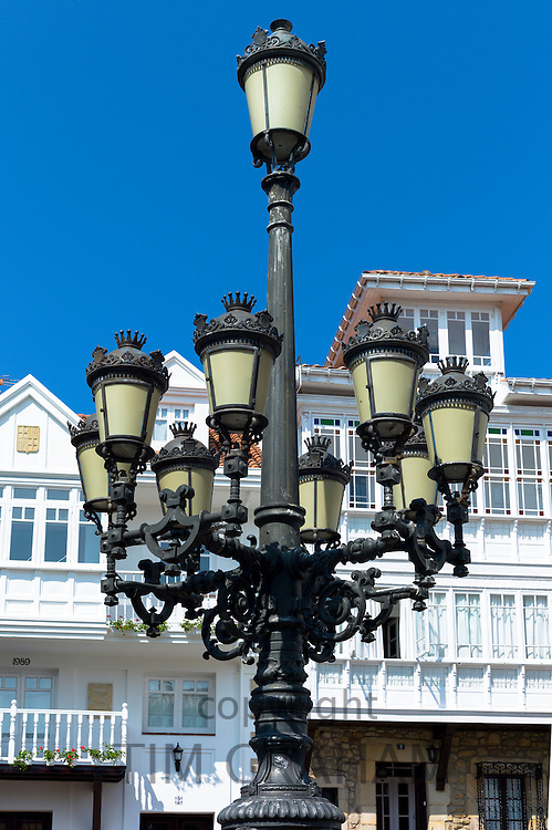 Traditional street lamp in Corro de San Pedro at Comillas in Cantabria, Northern Spain