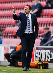 Wigan Athletic Manager, Malky Mackay shots instructions to his players - Photo mandatory by-line: Matt McNulty/JMP - Mobile: 07966 386802 - 06/04/2015 - SPORT - Football - Wigan - DW Stadium - Wigan Athletic v Derby County - SkyBet Championship