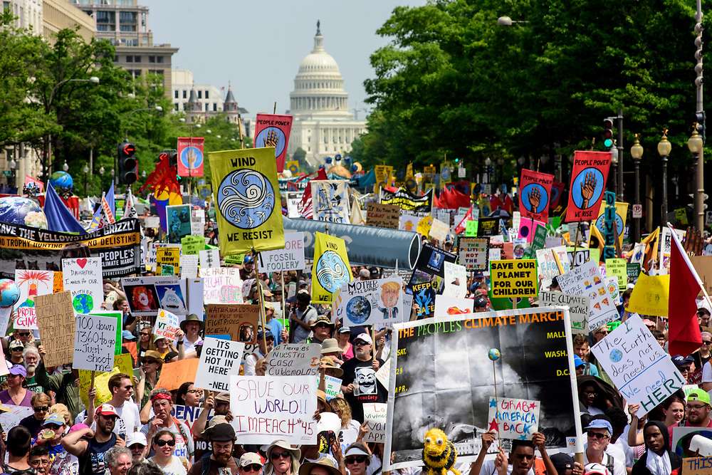 Washington, D.C. - April 29, 2017: Marchers participate in the People's Climate Movement in Washington D.C. Saturday April 29, 2017. <br /> <br /> <br /> CREDIT: Matt Roth for The League of Conservation Voters