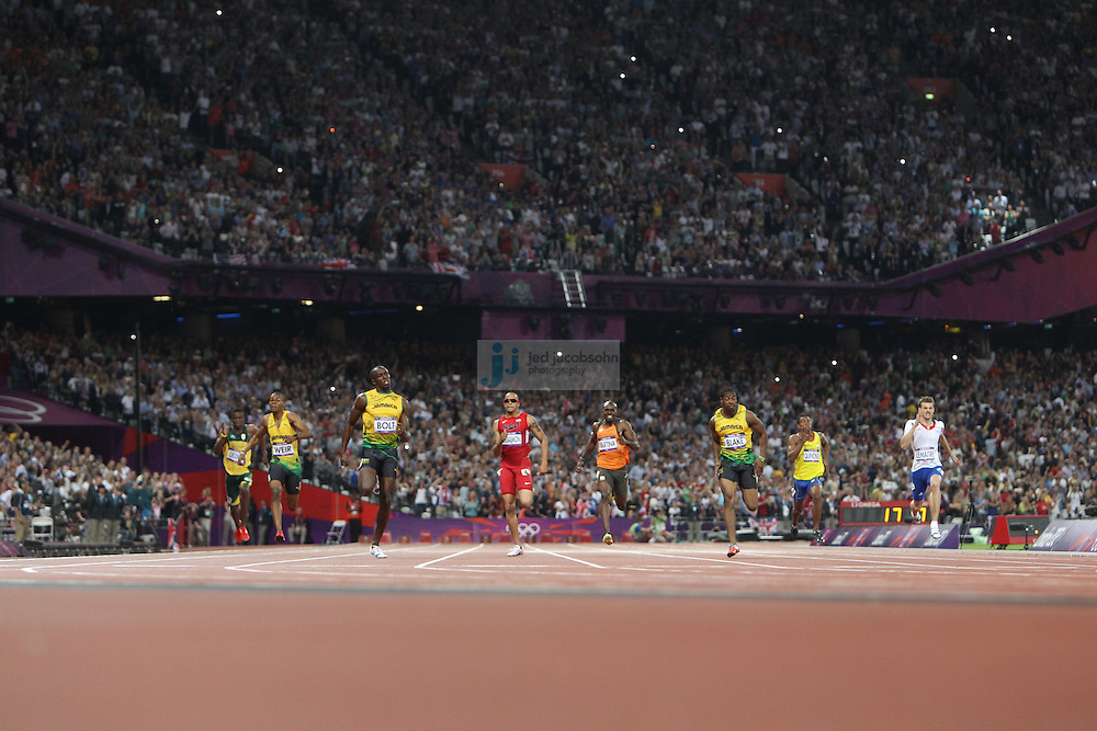 Usain Bolt of Jamaica runs in the 200m final to win the gold medal during track and field at the Olympic Stadium during day 13 of the London Olympic Games in London, England, United Kingdom on August 3, 2012..(Jed Jacobsohn/for The New York Times)..