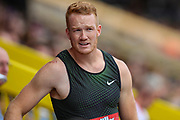 Greg RUTHERFORD of Great Britain after his jump in the Men's Long Jump during the Muller Grand Prix 2018 at Alexander Stadium, Birmingham, United Kingdom on 18 August 2018. Picture by Toyin Oshodi.