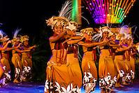 Tahina no Uturoa dance group performing during Heiva i Tahiti (July cultural festival), Place Toata, Papeete, Tahiti, French Polynesia.